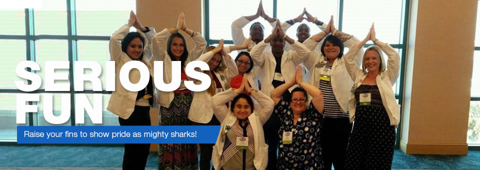 Serious Fun - Raise your fins to show pride as mighty sharks!